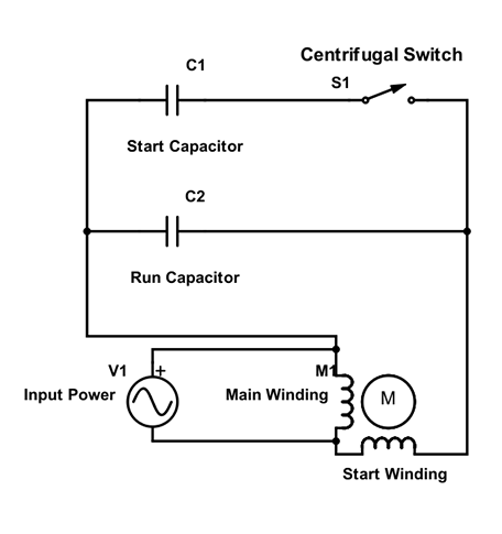 capacitor start motor diagrams motor start and run capacitors  motor start and run capacitors