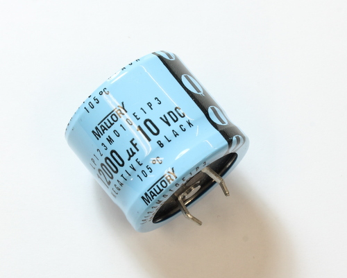 Picture of LP123M010E1P3 MALLORY capacitor 12,000uF 10V Aluminum Electrolytic Snap In High Temp
