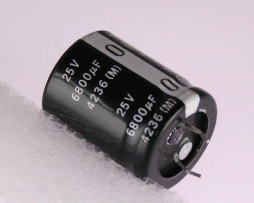 Picture of ECES1EU682K PANASONIC capacitor 6,800uF 25V Aluminum Electrolytic Snap In
