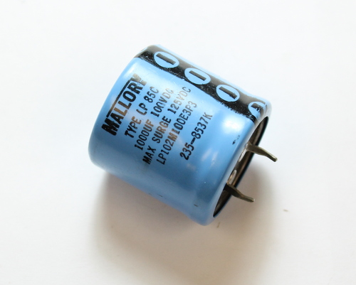 Picture of LP102M100E3P3 MALLORY capacitor 1,000uF 100V Aluminum Electrolytic Snap In High Temp
