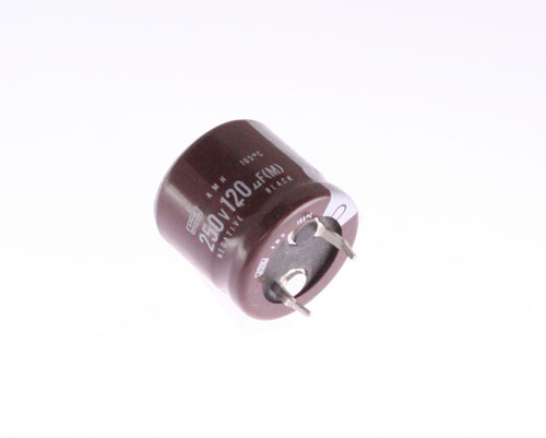 Picture of KMH250VNSN121M UNITED CHEMICON capacitor 120uF 250V Aluminum Electrolytic Snap In High Temp