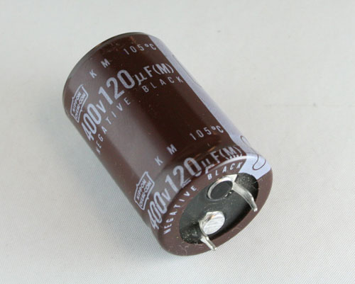 Picture of KM400VN121M UNITED CHEMICON capacitor 120uF 400V Aluminum Electrolytic Snap In High Temp