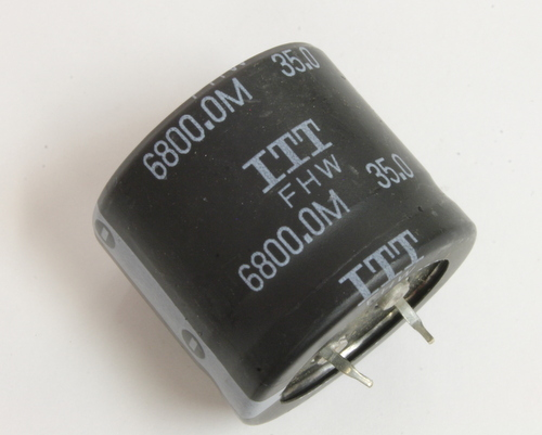Picture of FHW35V682M ITT capacitor 6,800uF 35V Aluminum Electrolytic Snap In
