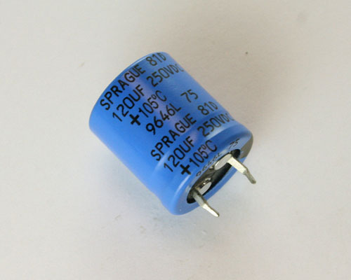 Picture of 81D127M250HA2D SPRAGUE capacitor 120uF 250V Aluminum Electrolytic Snap In High Temp