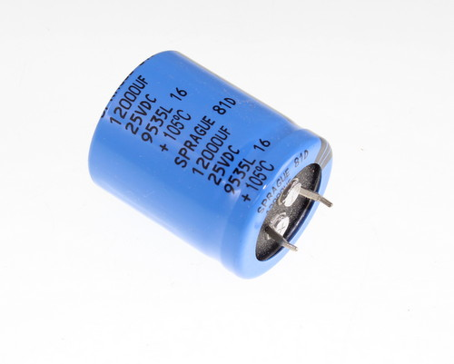 Picture of 81D123M025KC2D SPRAGUE capacitor 12,000uF 25V Aluminum Electrolytic Snap In High Temp