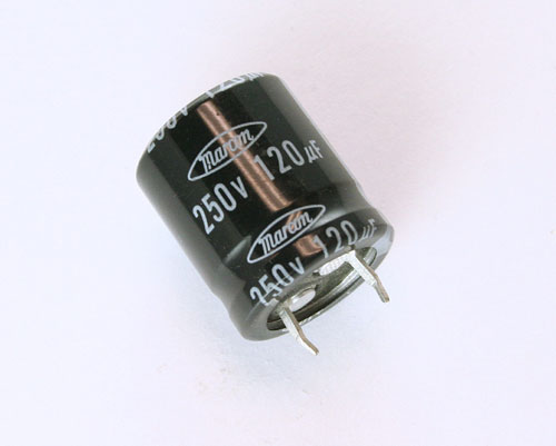 Picture of CEAUF2E121M MARCON capacitor 120uF 250V Aluminum Electrolytic Snap In High Temp