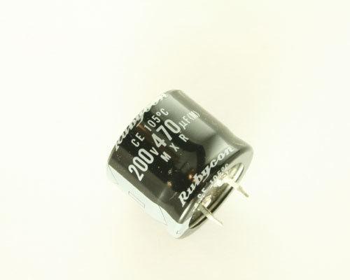 Picture of 200MXR470M RUBYCON capacitor 470uF 200V Aluminum Electrolytic Snap In High Temp
