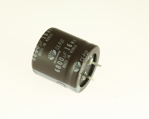 Picture of 682FUF16M DAEWOO capacitor 6,800uF 16V Aluminum Electrolytic Snap In High Temp
