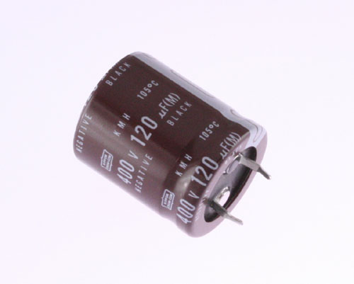 Picture of KMH400VN121M UNITED CHEMICON capacitor 120uF 400V Aluminum Electrolytic Snap In High Temp