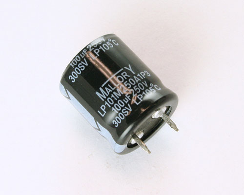 Picture of LP101M250A1P3 MALLORY capacitor 100uF 250V Aluminum Electrolytic Snap In High Temp