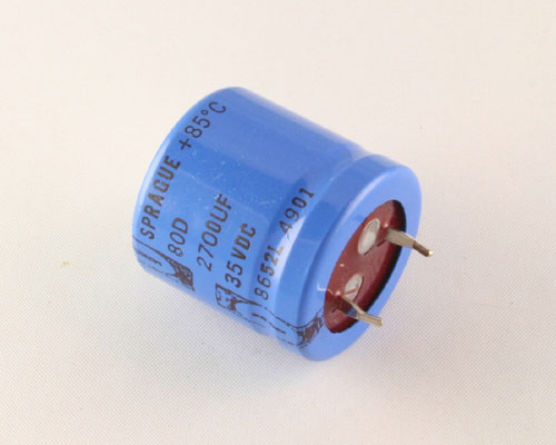 Picture of 80D272M035JA5 SPRAGUE capacitor 2,700uF 35V Aluminum Electrolytic Snap In