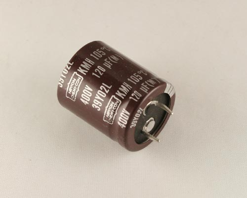 Picture of KMH400VN121M25X30T2 UNITED CHEMICON capacitor 120uF 400V Aluminum Electrolytic Snap In High Temp
