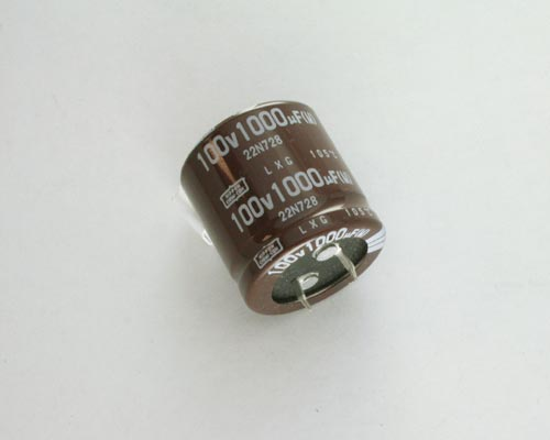 Picture of LXG100VNSN102M UCC capacitor 1,000uF 100V Aluminum Electrolytic Snap In High Temp
