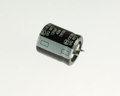 Picture of EETUQ2S121HA Panasonic capacitor 120uF 420V Aluminum Electrolytic Snap In