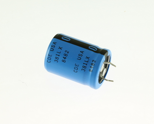 Picture of 381LX682M025H022 Cornell Dubilier (CDE) capacitor 6,800uF 25V Aluminum Electrolytic Snap In High Temp