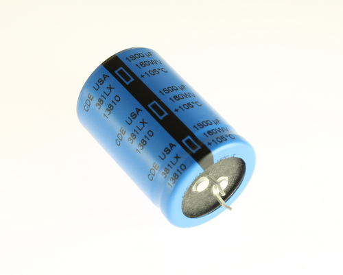 Picture of 381LX152M160452 Cornell Dubilier (CDE) capacitor 1,500uF 160V Aluminum Electrolytic Snap In High Temp