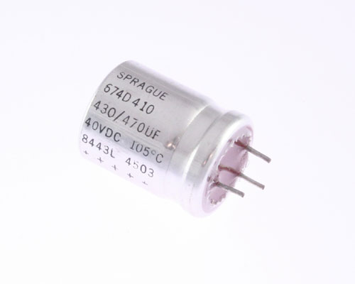 Picture of 674D470H040HE5A SPRAGUE capacitor 470uF 40V Aluminum Electrolytic Radial High Temp
