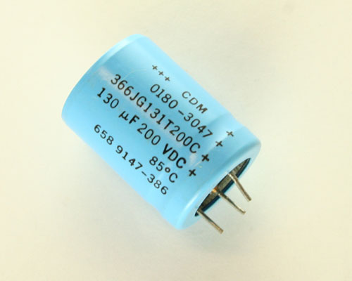 Picture of 366JG131T200C CDM capacitor 130uF 200V Aluminum Electrolytic Radial