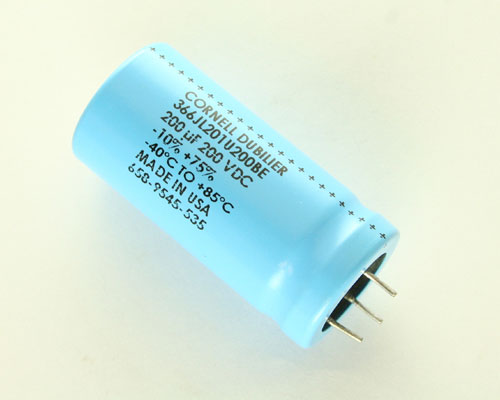 Picture of 366JL201T200C Cornell Dubilier (CDE) capacitor 200uF 200V Aluminum Electrolytic Radial