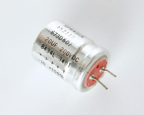 Picture of 673D206F200HE1C SPRAGUE capacitor 20uF 200V Aluminum Electrolytic Radial High Temp
