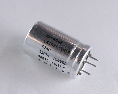 Picture of 674D337H100JJ2A SPRAGUE capacitor 330uF 100V Aluminum Electrolytic Radial High Temp