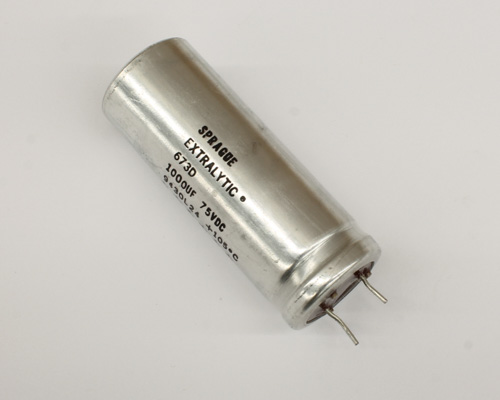 Picture of 673D108F075JP7C SPRAGUE capacitor 1,000uF 75V Aluminum Electrolytic Radial High Temp