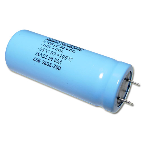 Picture of 301R272U040JP2E Cornell Dubilier (CDE) capacitor 2,700uF 40V Aluminum Electrolytic Radial High Temp