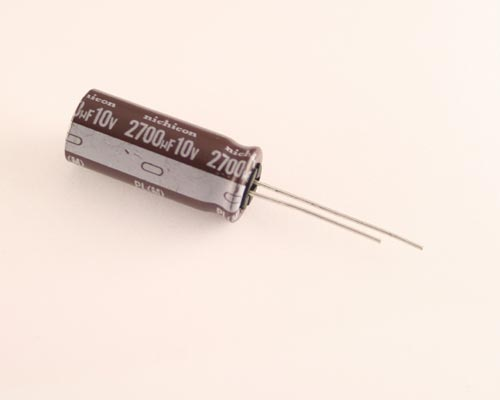 Picture of UPL1A272MHH NICHICON capacitor 2,700uF 10V Aluminum Electrolytic Radial High Temp