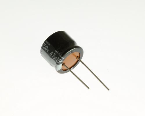 Picture of URT2E470MRH6 NICHICON capacitor 47uF 250V Aluminum Electrolytic Radial High Temp