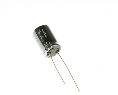 Picture of UVZ1J221MPD NICHICON capacitor 220uF 63V Aluminum Electrolytic Radial