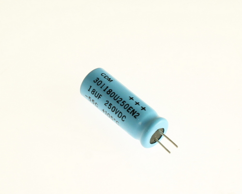 Picture of 301180U250EN2 Cornell Dubilier (CDE) capacitor 18uF 250V Aluminum Electrolytic Radial High Temp