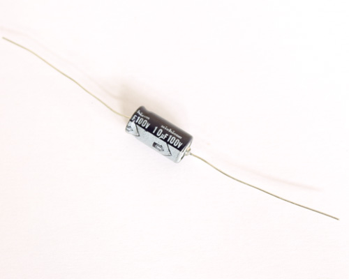 Picture of TLB2A100M NICHICON capacitor 10uF 100V Aluminum Electrolytic Axial