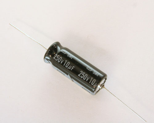 Picture of SME250T10M UCC capacitor 10uF 250V Aluminum Electrolytic Axial