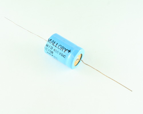 Picture of TC70B MALLORY capacitor 5uF 450V Aluminum Electrolytic Axial