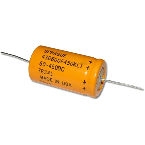 Picture of 43D600F450KL1 SPRAGUE capacitor 60uF 450V aluminum electrolytic axial