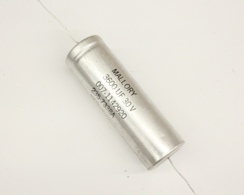 Picture of TCG362U030N3L3P MALLORY capacitor 3,600uF 30V Aluminum Electrolytic Axial