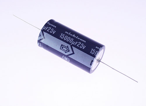 Picture of TLB1E153MDA NICHICON capacitor 15,000uF 25V Aluminum Electrolytic Axial
