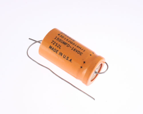 Picture of 43D152G016HJI SPRAGUE capacitor 1,500uF 16V Aluminum Electrolytic Axial