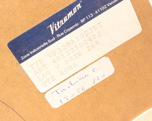 Picture of VP32BA102JBT VITRAMON capacitor 0.001uF 100V Ceramic Monolithic Radial