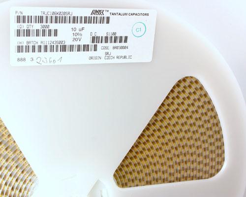 Picture of TRJC106K020SRJ AVX capacitor 10uF 20V Tantalum Surface Mount