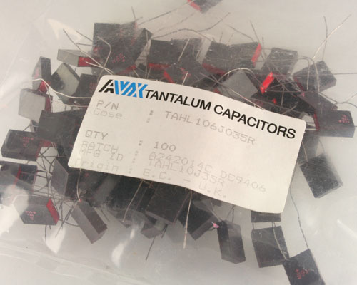 Picture of TAHL106J035R AVX capacitor 10uF 35V Tantalum Solid Radial