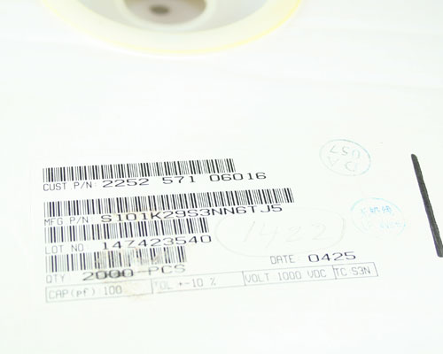 Picture of S101K29S3NN6TJ5 PHILIPS capacitor 100pF 1000V Ceramic Disc
