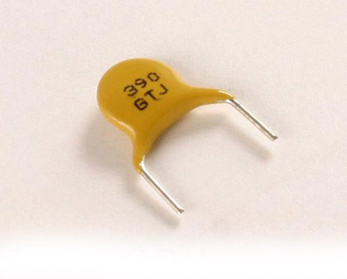 Picture of 5GT390JCEEE AVX capacitor 390pF 3000V Ceramic Disc