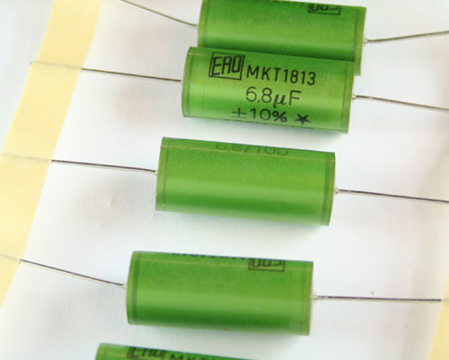 Picture of MKT1813-568-015 ROEDERSTEIN capacitor 6.8uF 100V Film Metallized Polyester Axial
