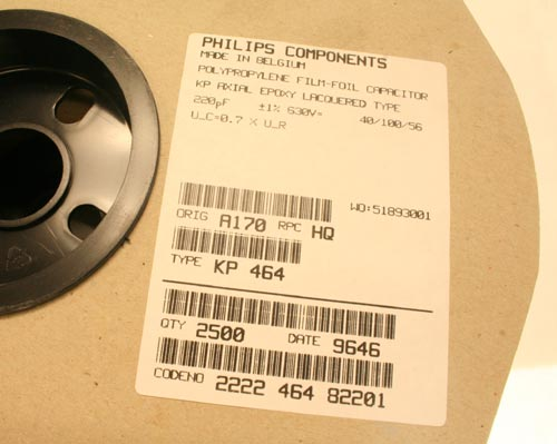 Picture of 2222-464-82201 PHILIPS capacitor 220pF 630V Film Polypropylene Axial