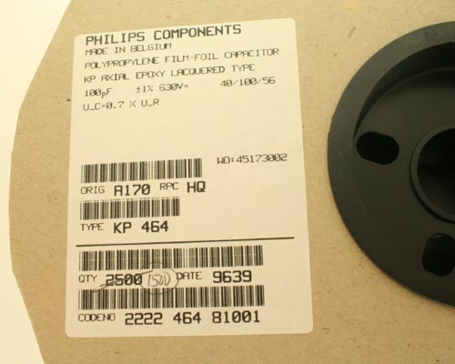 Picture of 2222-464-81001 PHILIPS capacitor 100pF 630V Film Polypropylene Axial