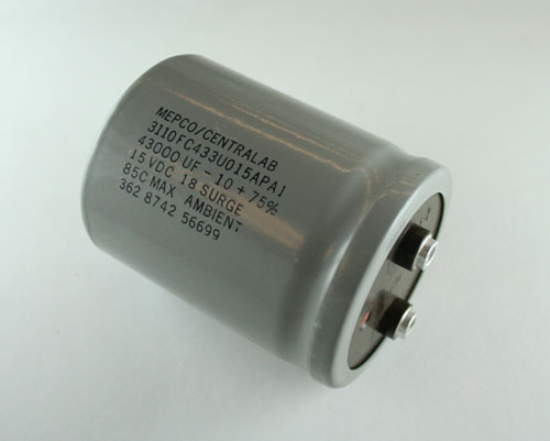 Picture of 3110FC433U015APA1 MEPCO capacitor 43,000uF 15V Aluminum Electrolytic Large Can Computer Grade