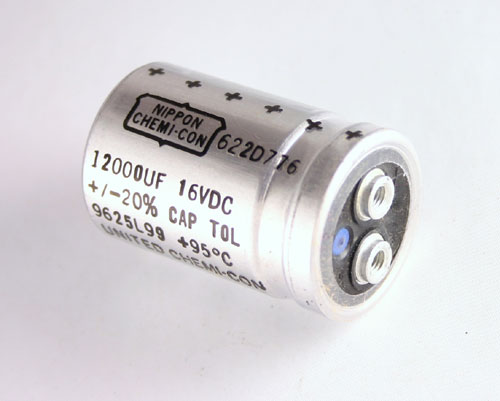 Picture of 622D776 SPRAGUE capacitor 12,000uF 16V Aluminum Electrolytic Large Can Computer Grade High Temp
