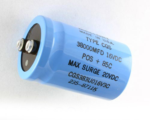 Picture of CGS383U016V3C MALLORY capacitor 38,000uF 16V Aluminum Electrolytic Large Can Computer Grade