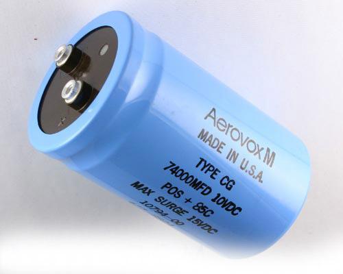 Picture of CG743U010W4C AERO-M capacitor 74,000uF 10V Aluminum Electrolytic Large Can Computer Grade